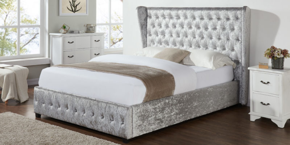 Diamond Double Bed - Silver