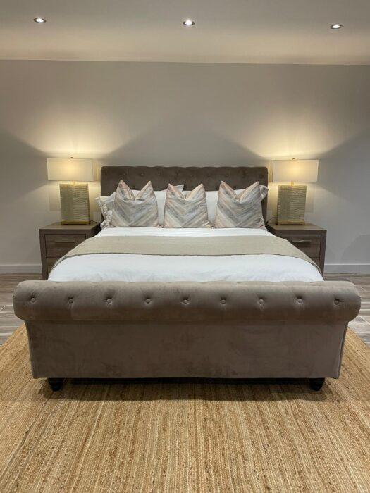 Celine Double Bed - Velvet Taupe